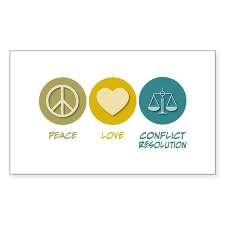 Peace Love Conflict Resolution Rectangle Sticker