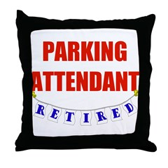 Retired Parking Attendant Throw Pillow