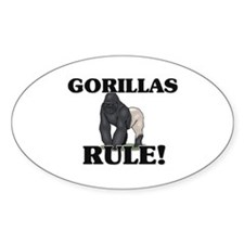 Gorillas Rule! Oval Decal