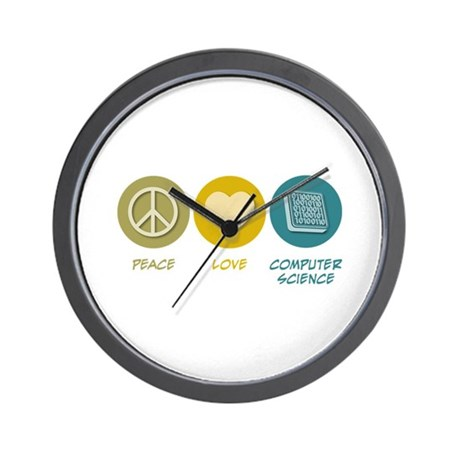 Peace Love Computer Science Wall Clock