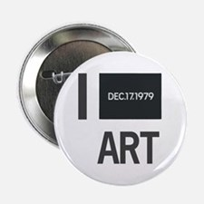 """I Love Art-Kawara 2.25"""" Button"""