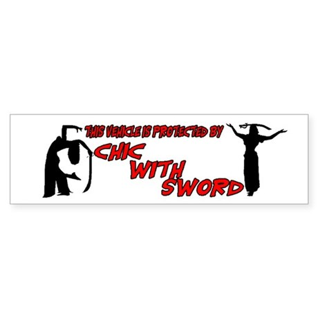 Protected by Chic with Sword Bumper Sticker