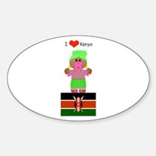 I Love Kenya Oval Decal