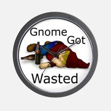 Gnome Got Wasted Wall Clock