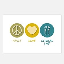 Peace Love Clinical Lab Postcards (Package of 8)
