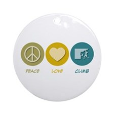 Peace Love Climb Ornament (Round)