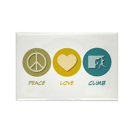 Peace Love Climb Rectangle Magnet