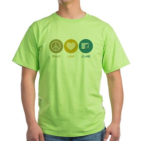 Peace Love Climb Green T-Shirt
