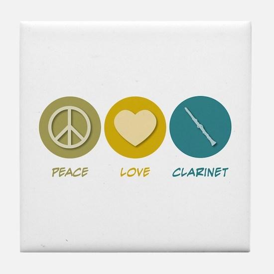Peace Love Clarinet Tile Coaster