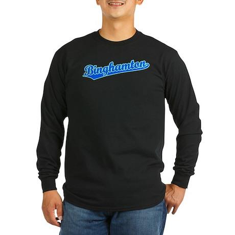 Retro Binghamton (Blue) Long Sleeve Dark T-Shirt