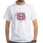 Fishnet Skull White T-Shirt