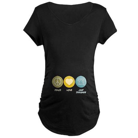 Peace Love Chip Designer Maternity Dark T-Shirt