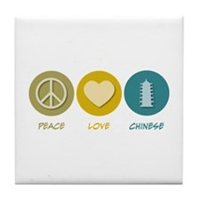 Peace Love Chinese Tile Coaster