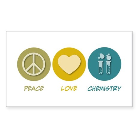 Peace Love Chemistry Rectangle Sticker