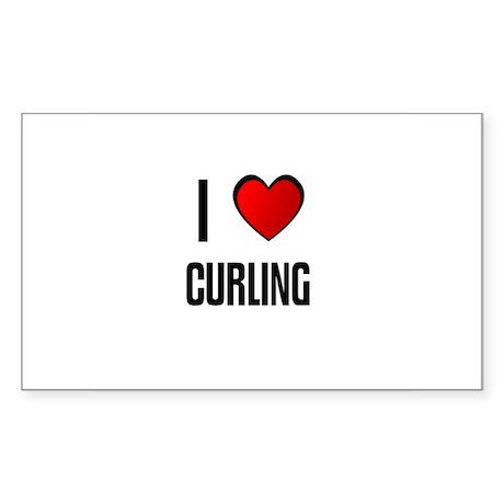 I LOVE CURLING Rectangle Sticker