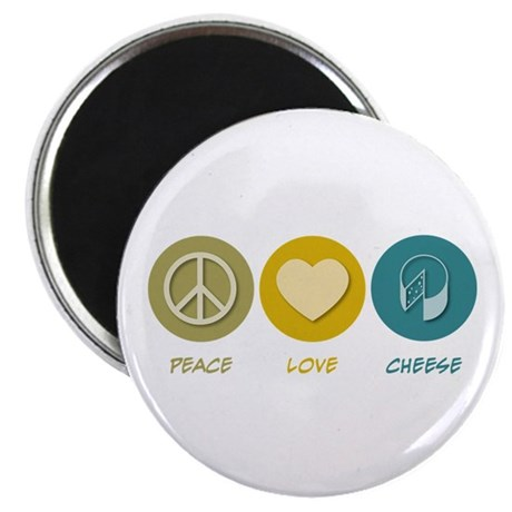 """Peace Love Cheese 2.25"""" Magnet (100 pack)"""