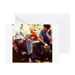 Retro 70's Guys Picnic on Greeting Cards (Pk of 10