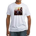 Retro 70's Guys Picnic on Fitted T-Shirt