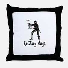 Knitting Ninja Throw Pillow