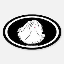 Puli Dog Oval (white on black) Oval Decal