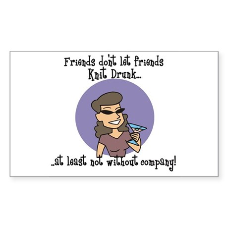 Knit Drunk - With Company Rectangle Sticker