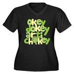 Okey Dokey Women's Plus Size V-Neck Dark T-Shirt