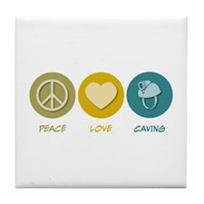 Peace Love Caving Tile Coaster