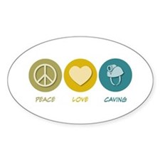 Peace Love Caving Oval Decal