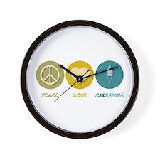 Peace Love Caregiving Wall Clock