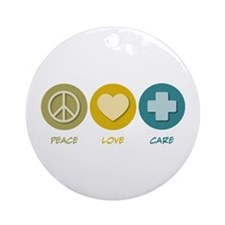 Peace Love Care Ornament (Round)