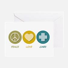 Peace Love Care Greeting Card