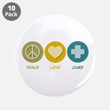 """Peace Love Care 3.5"""" Button (10 pack)"""