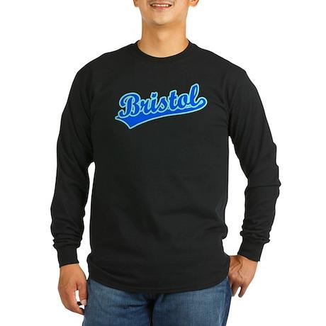 Retro Bristol (Blue) Long Sleeve Dark T-Shirt