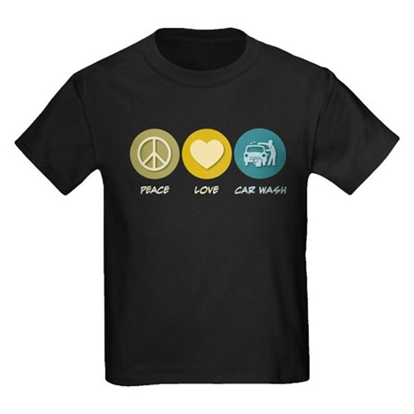 Peace Love Car Wash Kids Dark T-Shirt