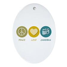 Peace Love Cameras Oval Ornament