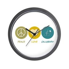 Peace Love Calligraphy Wall Clock
