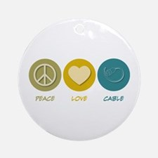 Peace Love Cable Ornament (Round)