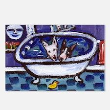 Bull Terrier bath Postcards (Package of 8)