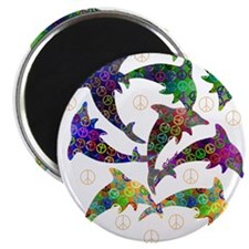 "Dolphin Peace Group 2.25"" Magnet (100 pack)"