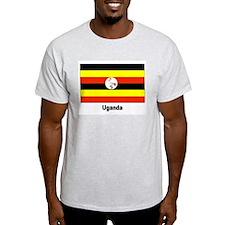 Uganda Flag (Front) Ash Grey T-Shirt