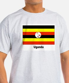 Uganda Flag (Front) Ash Grey T-Shirt