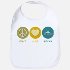 Peace Love Bricks Bib
