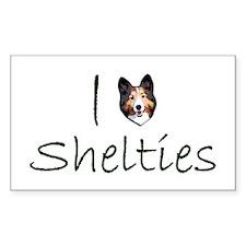 I Heart Shelties dog Lover Rectangle Decal