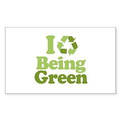 I Love Being Green Rectangle Sticker 50 pk)