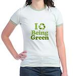 I Love Being Green Jr. Ringer T-Shirt