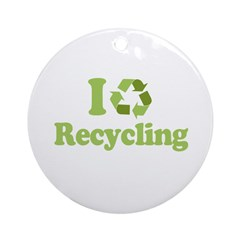 I Love Recycling Ornament (Round)