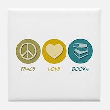 Peace Love Books Tile Coaster