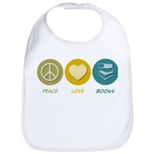 Peace Love Books Bib