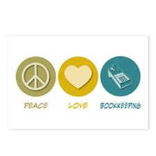 Peace Love Bookkeeping Postcards (Package of 8)