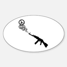 Peace Gun Oval Decal